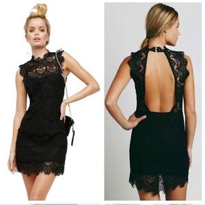 Free people open back high neck lace bodycon dress